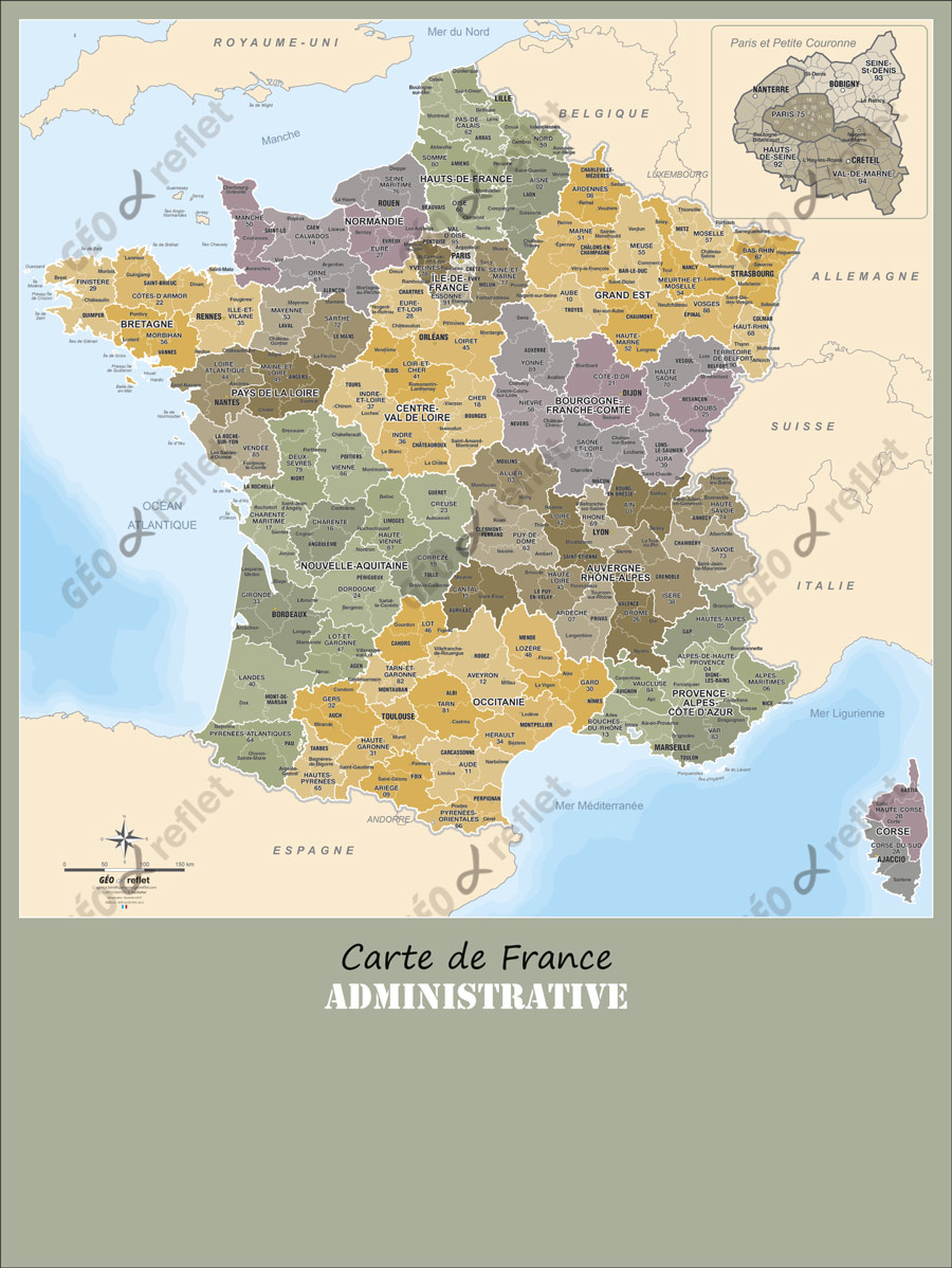 Carte de France Administrative 60x80cm