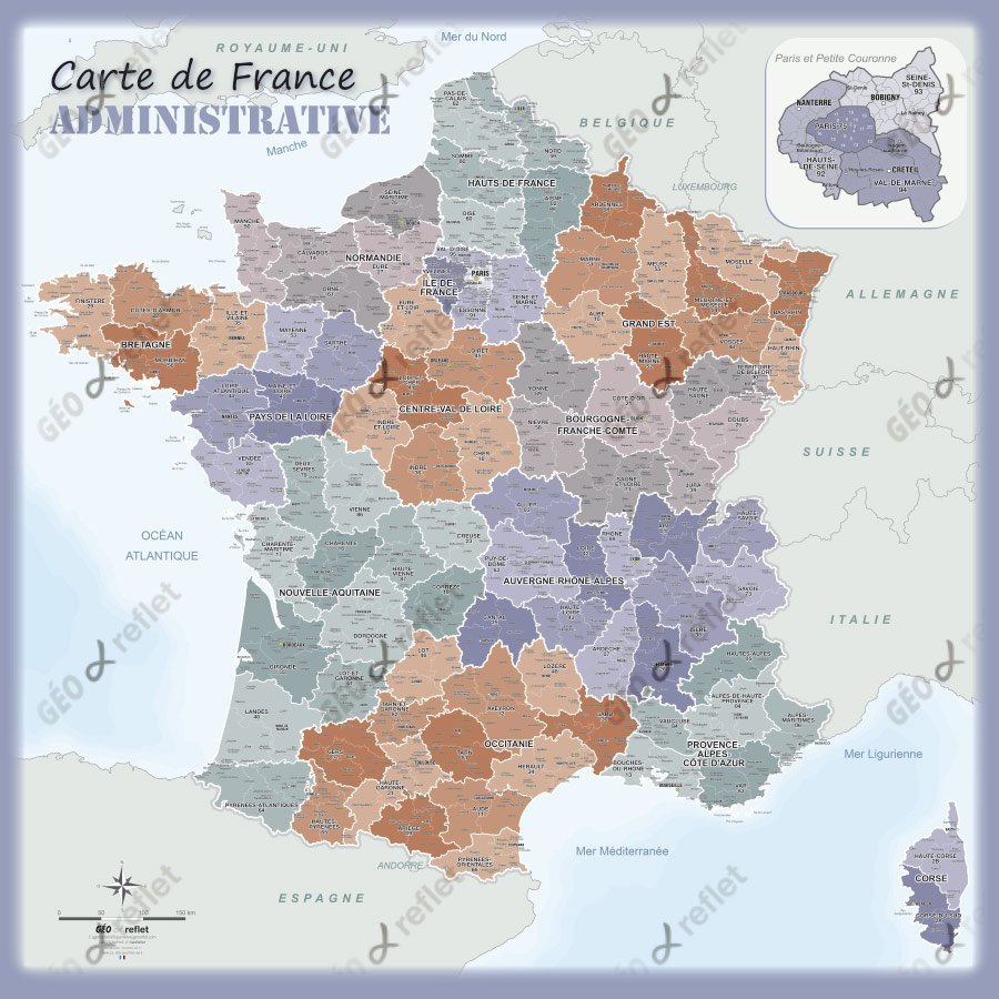 Carte de France administrative aventurine 1mx1m