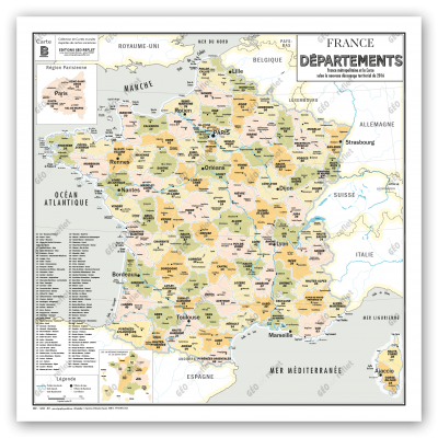 Carte de France Départements VIntage
