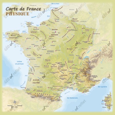Carte de France relief 1mx1m