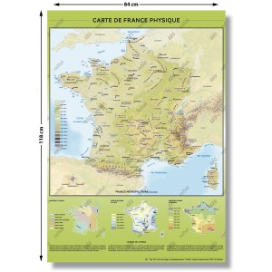 Carte de France Physique Relief - Format A0 - 84x118cm