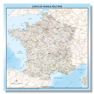 Carte de France routière - 2019 - Format 100x100 cm