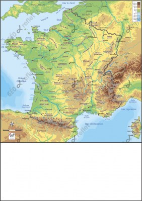 Carte de France relief vecteur